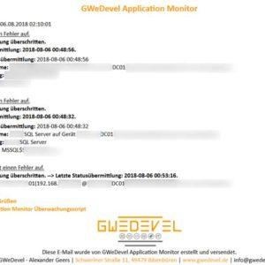 GWeDevel Application Monitor Benachrichtigung