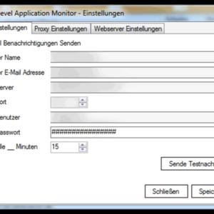 GWeDevel Application Monitor Client Einstellungen Email