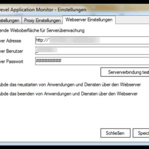 GWeDevel Application Monitor Client Einstellungen Webserver