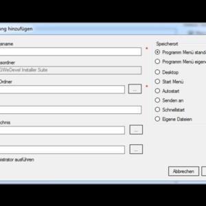 GWeDevel Installer Suite – Verknüpfungen