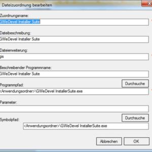 GWeDevel Installer Suite – Dateizuordnung
