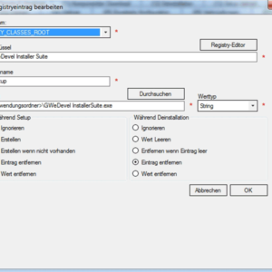 GWeDevel Installer Suite – Registryeinträge
