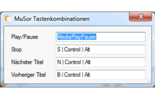 GWeDevel Musor Tastenkombinationen