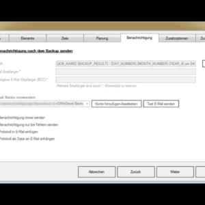 GWeDevel WebBackup Job Einrichten – Benachrichtigungsoption festlegen